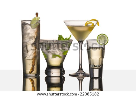 assorted cocktail drinks made with vodka