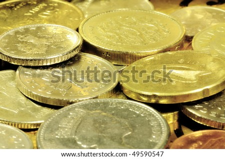 Assorted coins - stock photo