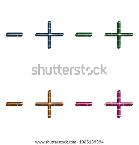 Assorted Color Brick Textured Dash Hyphen Stock Illustration