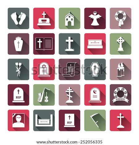 Assorted Colored Funeral Icon Set Emphasizing Tombstone  Angel  Coffin  Church and Cross Icons - stock photo