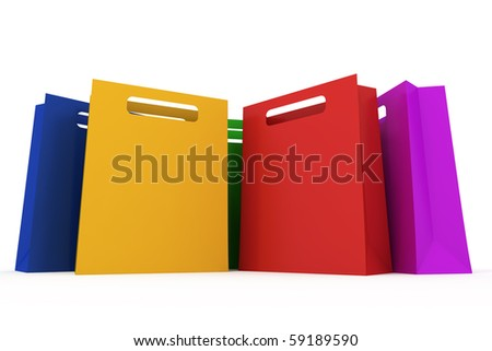 Assorted colored shopping bag isolated on white background - stock photo
