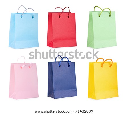 Assorted colored shopping bags on a white background - stock photo