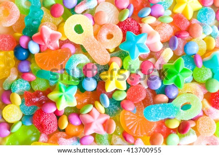 Assorted colorful candies - stock photo