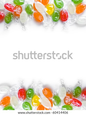 assorted colorful candies in plastic wraps isolated in white background - stock photo