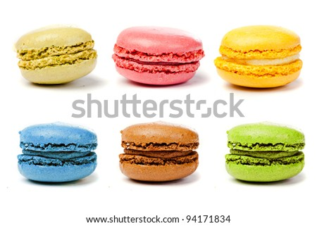 assorted colorful french macarons - stock photo