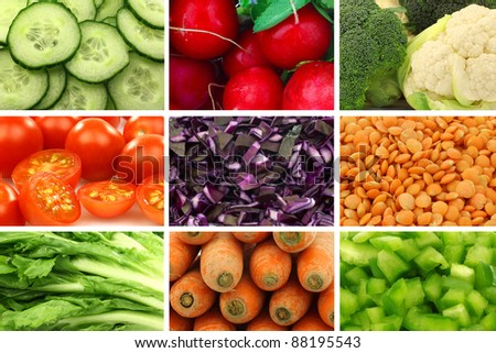 assorted colorful fresh and dried vegetables - stock photo