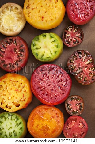 Assorted Colorful Juicy Ripe Heirloom Tomatoes - stock photo