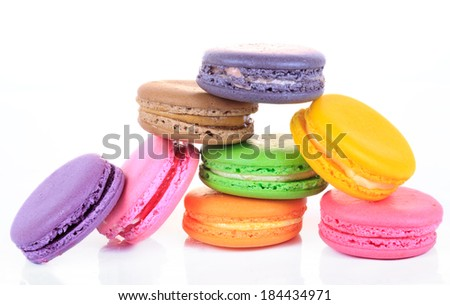 Assorted colorful macaroon isolated on white background