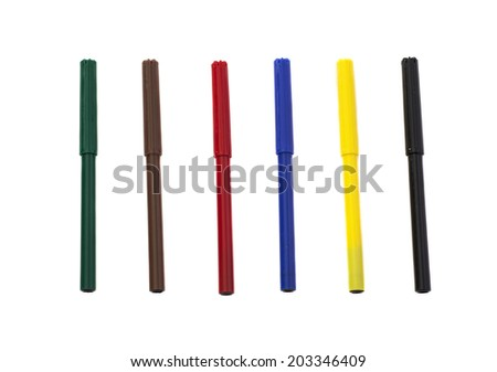Assorted Colors Marker Pens Isolated on White Background  - stock photo
