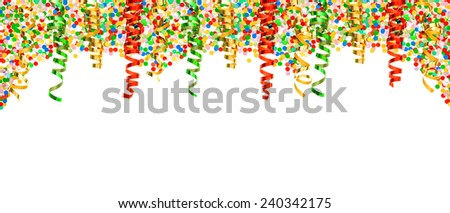 assorted confetti and shiny colorful streamer on white background. banner with party decoration - stock photo
