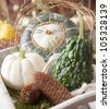 Assorted decorative gourds and some cones arrangement - stock photo