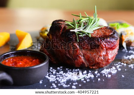 Assorted delicious grilled meat with vegetable - stock photo