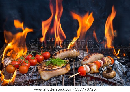 Assorted delicious grilled meat with vegetable over the  barbecue with fire - stock photo