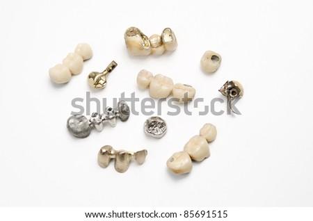 assorted dental bridges - stock photo
