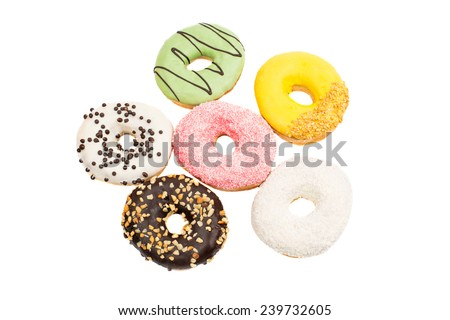Assorted donuts on a white background  - stock photo
