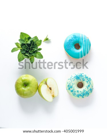 Assorted donuts with different fillings isolated on white background - stock photo