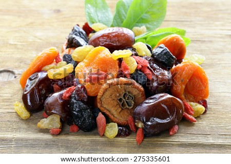 Assorted dried fruits (raisins, apricots, figs, prunes, goji, cranberries) on a wooden background