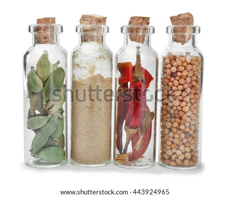 Assorted dry spices in glass bottles on white background - stock photo