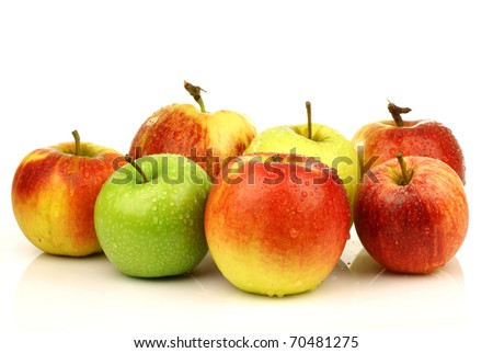 assorted Dutch apple cultivars on a white background - stock photo