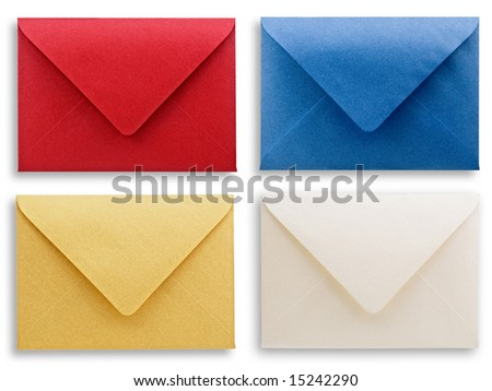 assorted envelopes white background clipping path. - stock photo