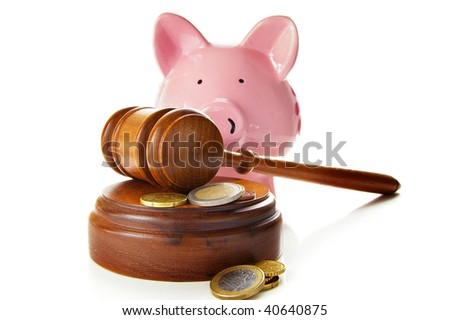assorted euro coins with court gavel and piggy bank - stock photo