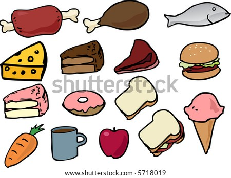 Assorted food icons lineart hand-drawn vector illustration - stock photo
