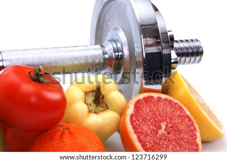 Assorted fresh fruits and vegetables , fitness concept - stock photo