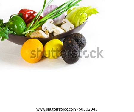 assorted fresh vegetables and fruits, base for a healty diet and nutruition - stock photo