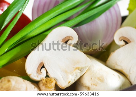 assorted fresh vegetables, base for a healty diet and nutruition - stock photo