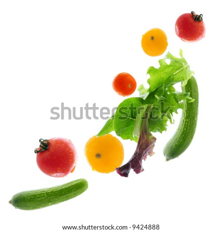 Assorted fresh vegetables flying isolated on white background - stock photo