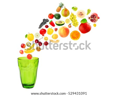 Assorted fruit and vegetable (like flying) for squeezing and salads. Colorful drink empty glasses ready for fresh juice. Healthy drinks and raw vegetarian food concept. Objects isolated on white