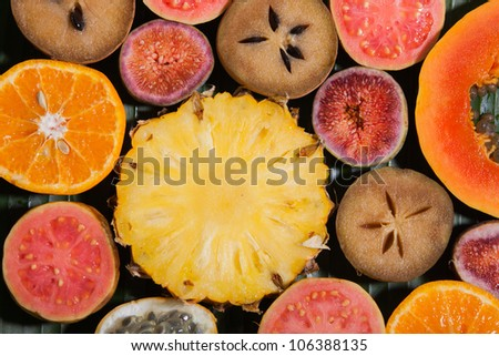 Assorted fruit slices - stock photo