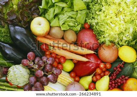 Assorted fruits and vegetables - stock photo