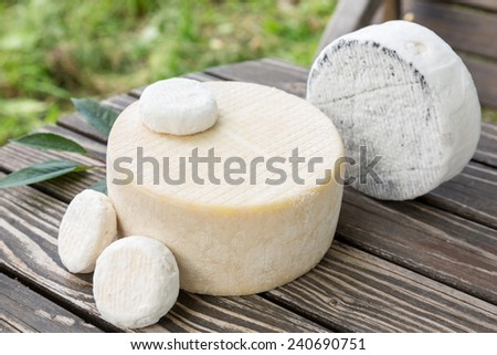 Assorted goat cheese lying on a wooden table boards on s farm