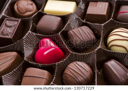 Assorted gourmet chocolate in a box.
