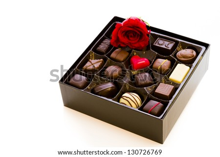 Assorted gourmet chocolate in a box. - stock photo