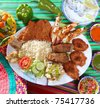 assorted grilled seafood in Mexico tequila chili hot sauces - stock photo