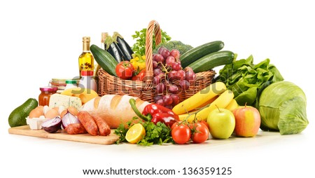 Assorted grocery products including vegetables fruits wine bread dairy and meat isolated on white - stock photo