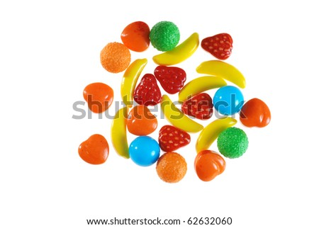 assorted hard fruit candy - stock photo