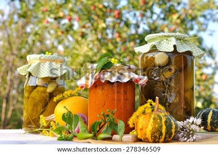 Assorted homemade preserves with a garden as a background. - stock photo