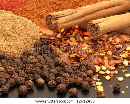 Assorted hot spices including whole peppercorns, chopped chilli, cinnamon sticks and ground spices. - stock photo