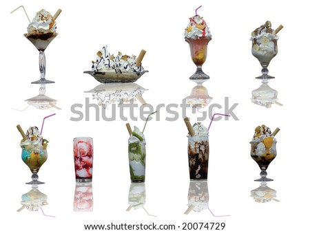 Assorted ice cream cups with reflection on white background - stock photo