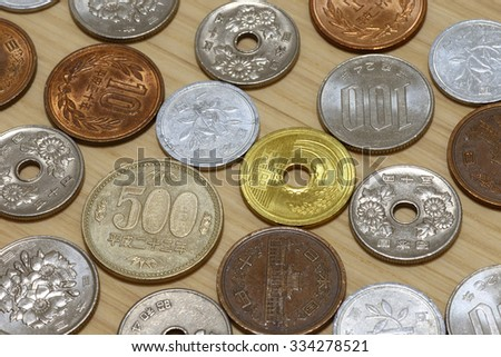 Assorted Japanese coins on the table