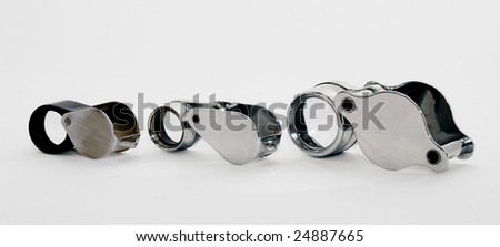 Assorted jewelers' loupes - stock photo