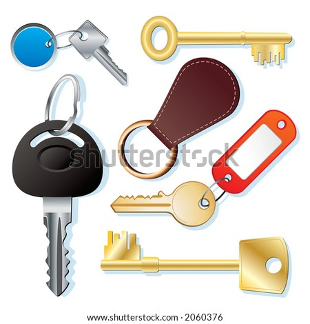 Assorted keys on a white background - stock photo