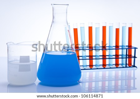 Assorted laboratory glassware , experiment - stock photo
