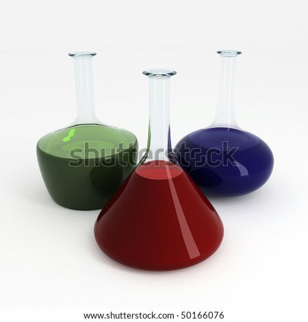 Assorted laboratory glassware on a white background - stock photo