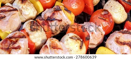 Assorted Meat And Vegetables Kebabs On The Hot BBQ Grill Background Close-up - stock photo