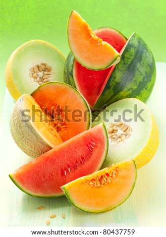 assorted melons and watermelon on the table