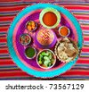assorted Mexican sauces spices chili pico gallo on Mexican colorful hat - stock photo